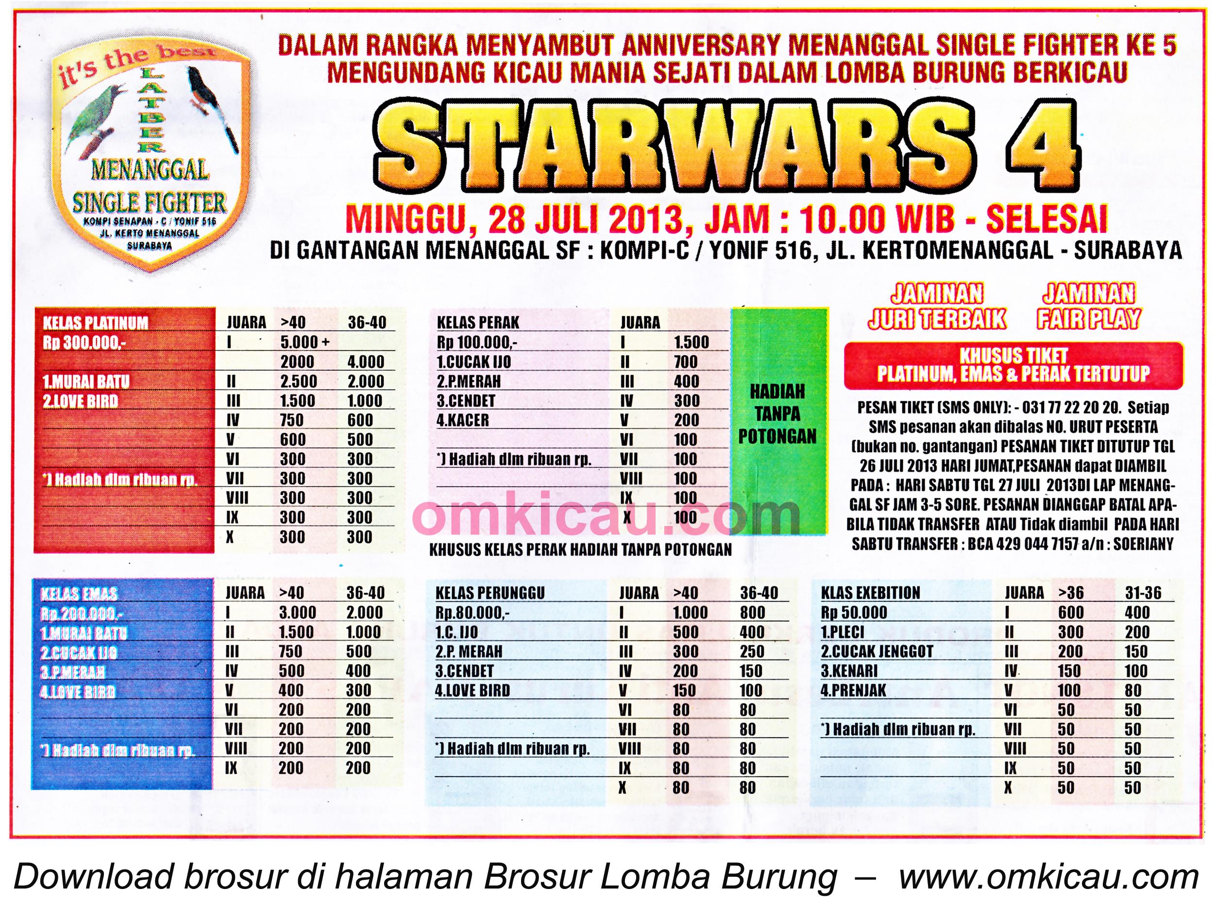 Brosur Lomba Burung Starwars 4 Surabaya 28 Juli 2013