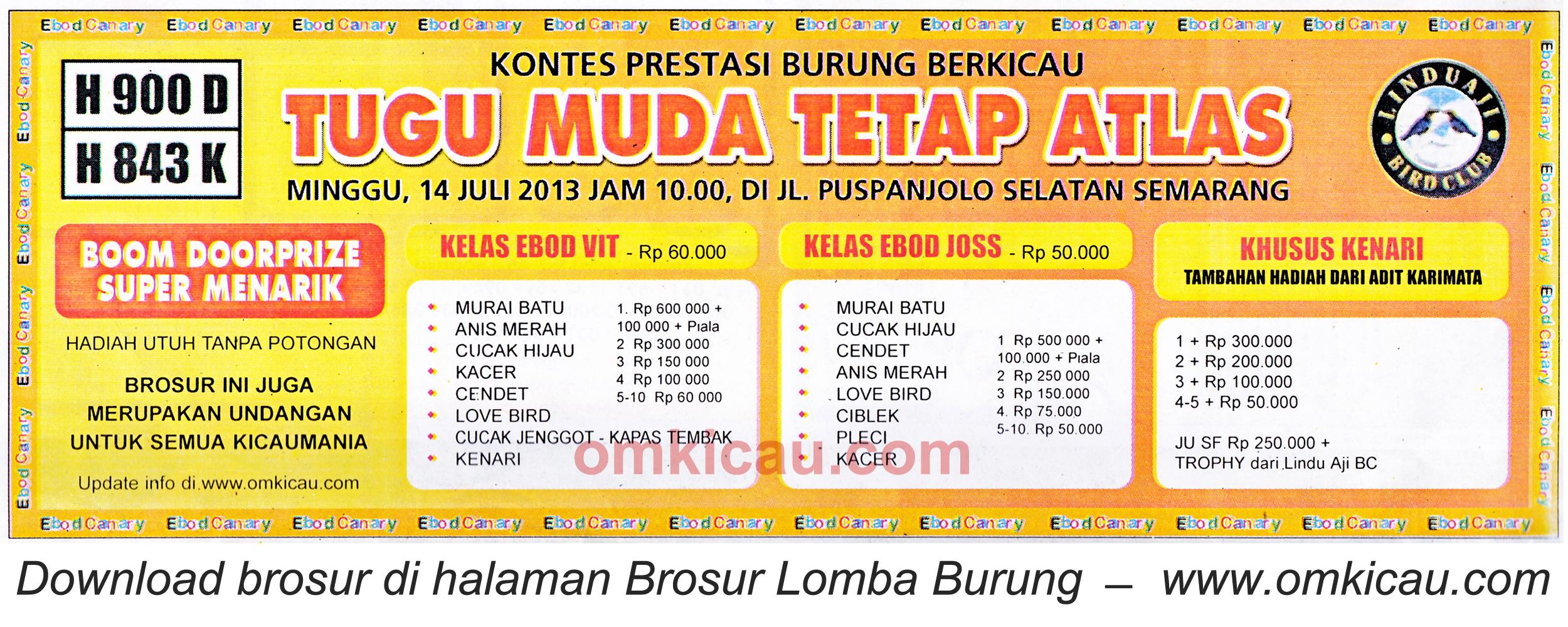 Brosur Lomba Burung Tugu Muda Tetap Atlas - Semarang 14 Juli 2013