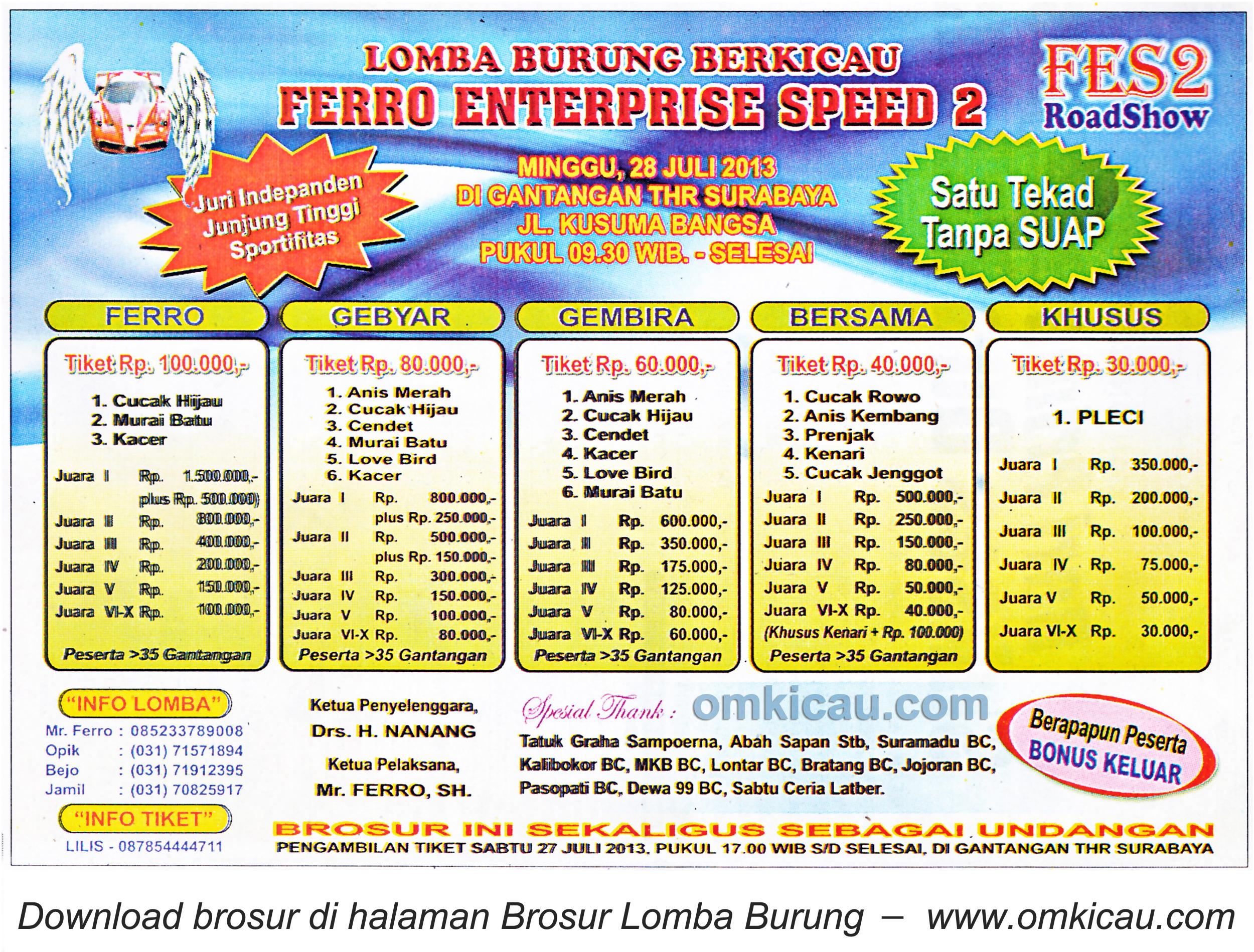 Brosur Lomba Ferro Enterprise Speed 2 - Surabaya 28 Juli 2013