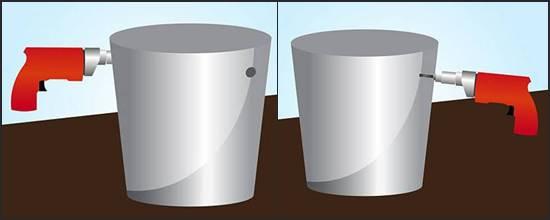 Lubangi bagian kiri dan kanan dari ember atau galon