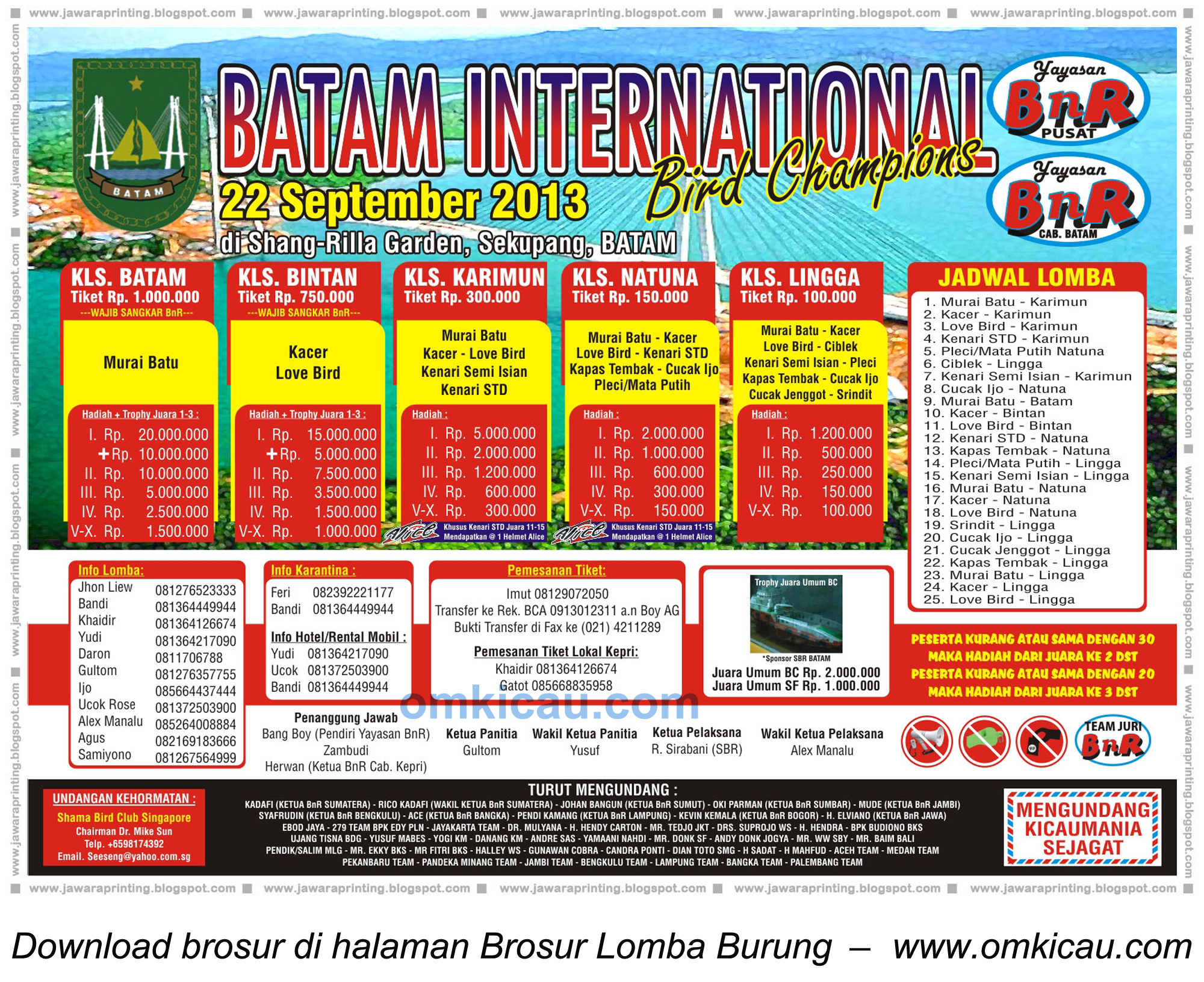 Brosur Batam International Bird Champion, Batam, 22 Sept 2013