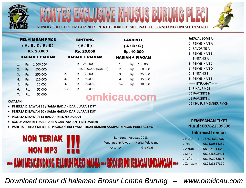 Brosur Kontes Exclusive Burung Pleci, Cimahi, 1 Sept 2013
