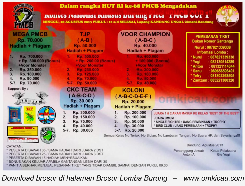 Brosur Kontes Nasional Burung Pleci - PCMI Cup 1 Cimahi 18 Agustus 2013