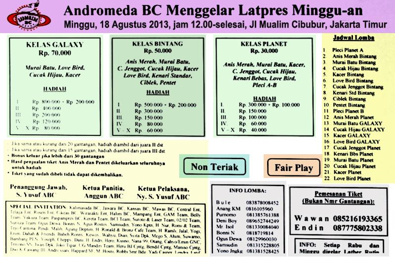 Brosur Latpres Spesial Andromeda BC Jakarta