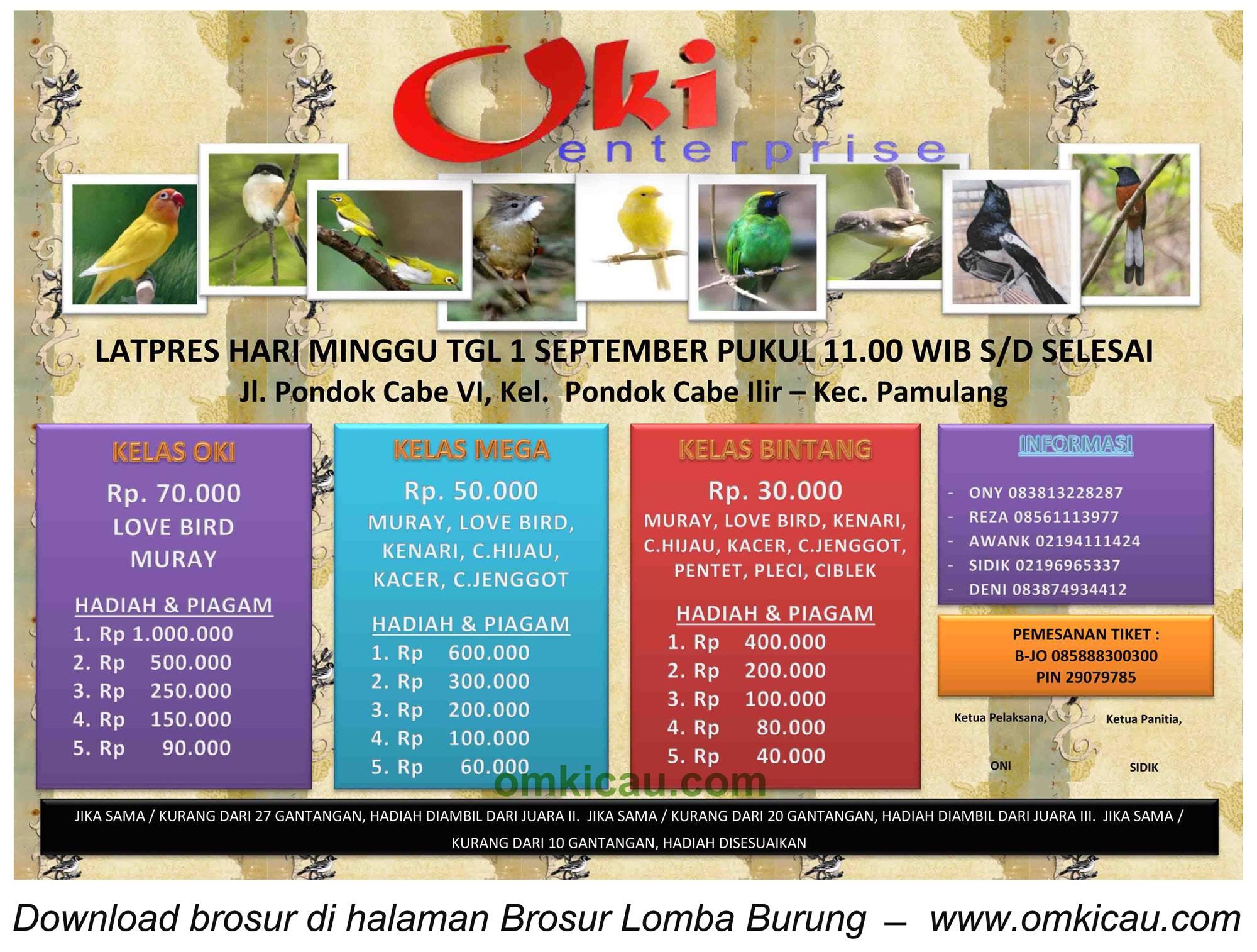 Brosur Latpres Burung OKI Enterprise, Pamulang, 1 Sept 2013