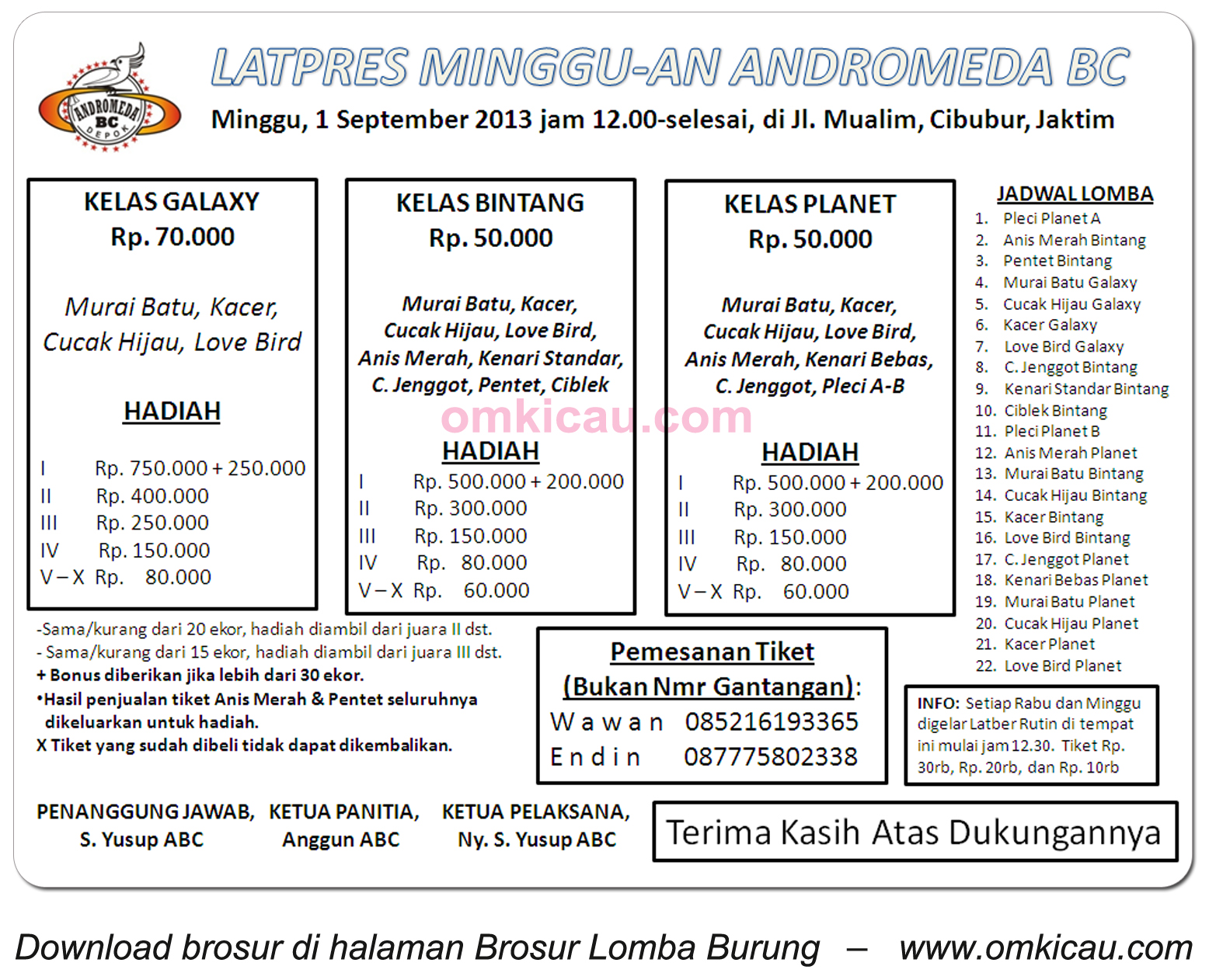 Brosur Latpres Andromeda BC Jakarta 1 Sept 2013