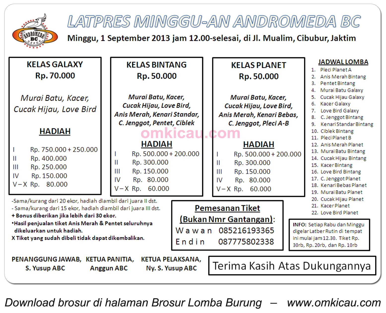 Brosur Latpres Mingguan Andromeda - Jakarta, 1 Sept 2013