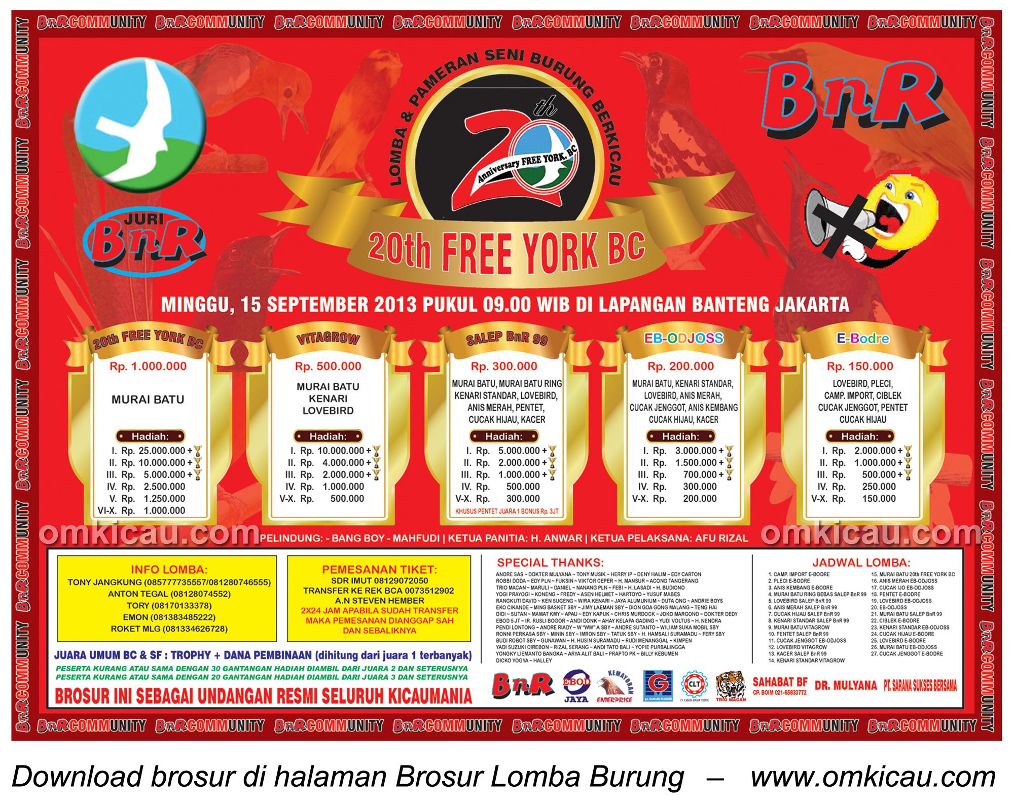 Brosur Lomba Burung 20 Tahun Free York BC 15 Sept 2013