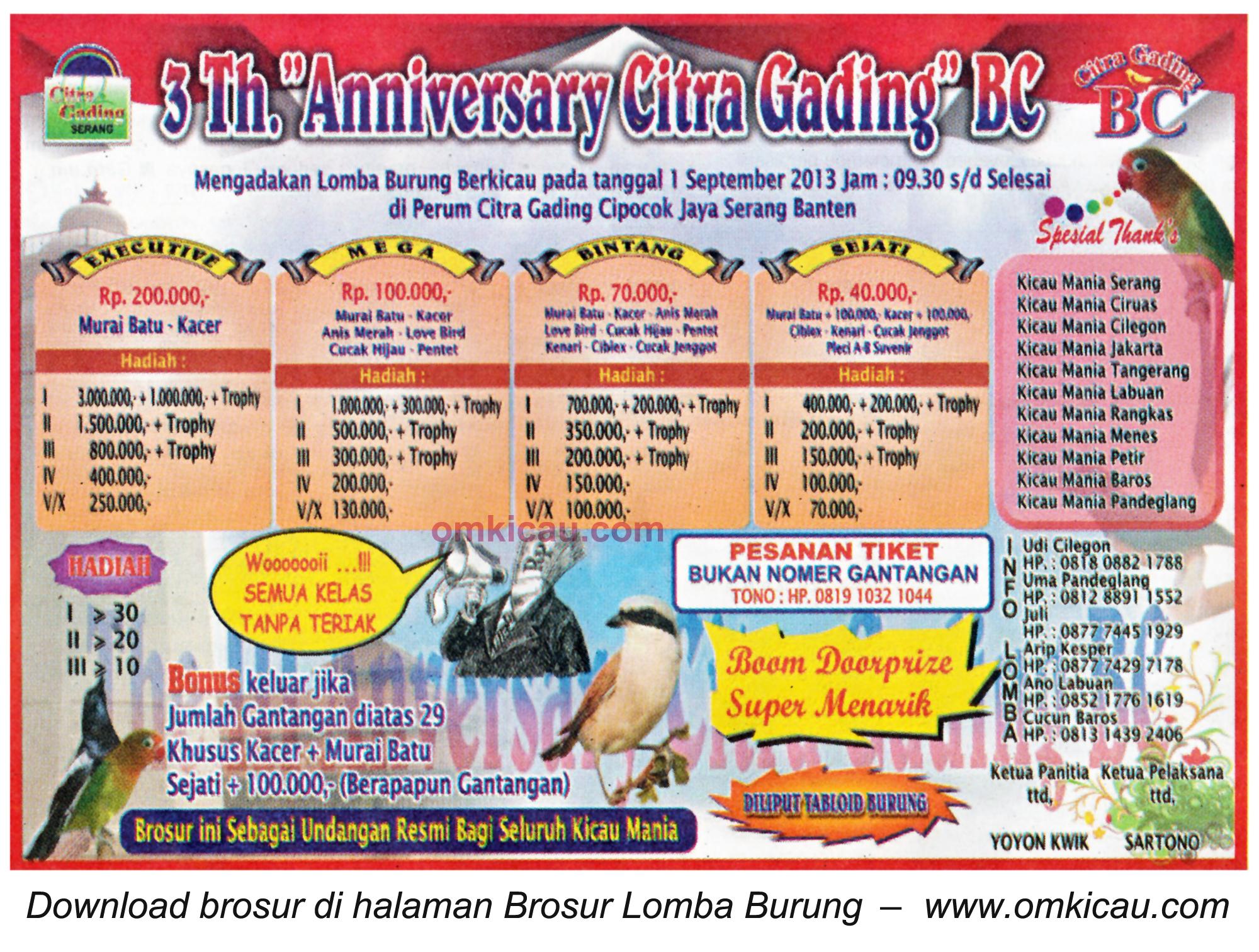 Brosur Lomba 5th Anniversary Citra Gading BC Serang 1 Sept 2013