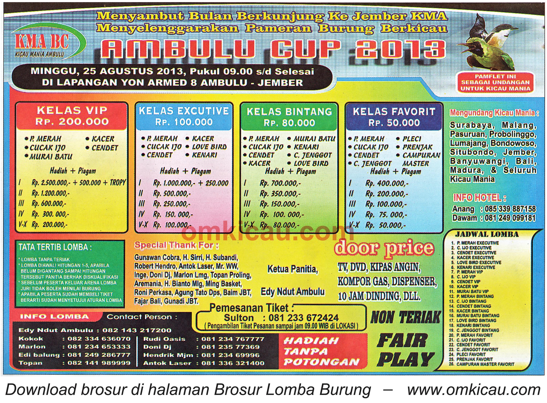Brosur Lomba Ambulu Cup Jember 25 Agustus 2013