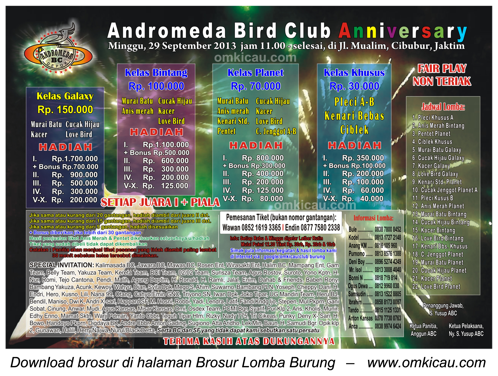 Lomba Burung Andromeda BC Anniversary