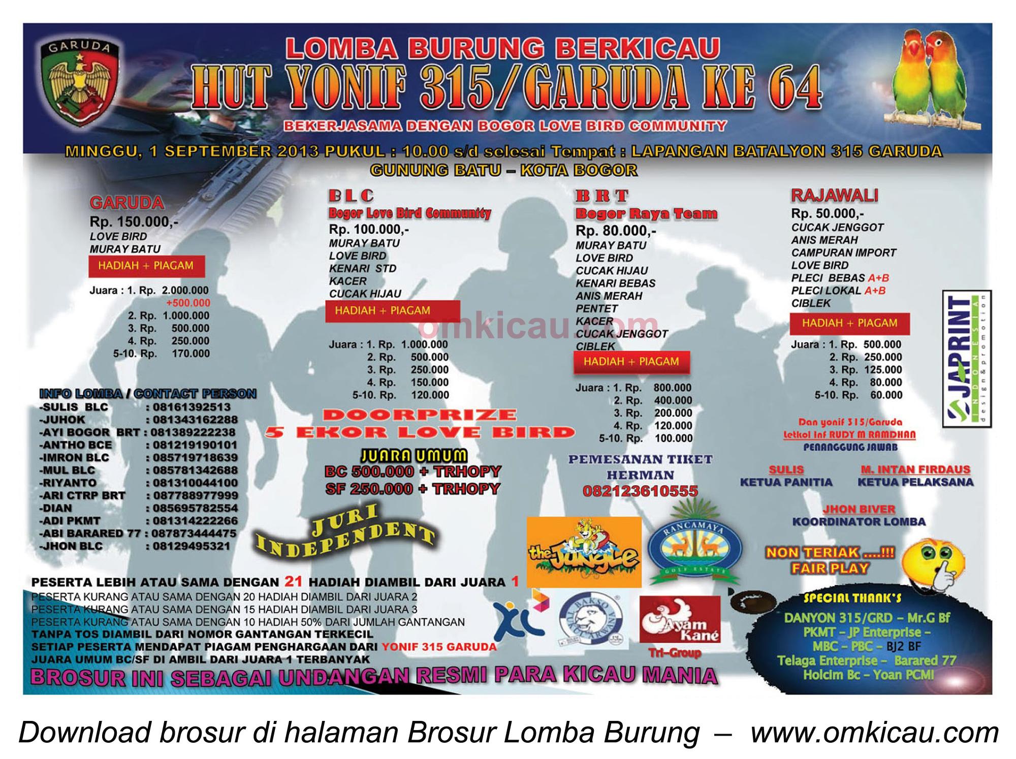 Brosur Lomba Burung Berkicau HUT Yonif 315, Bogor, 1 Sept 2013