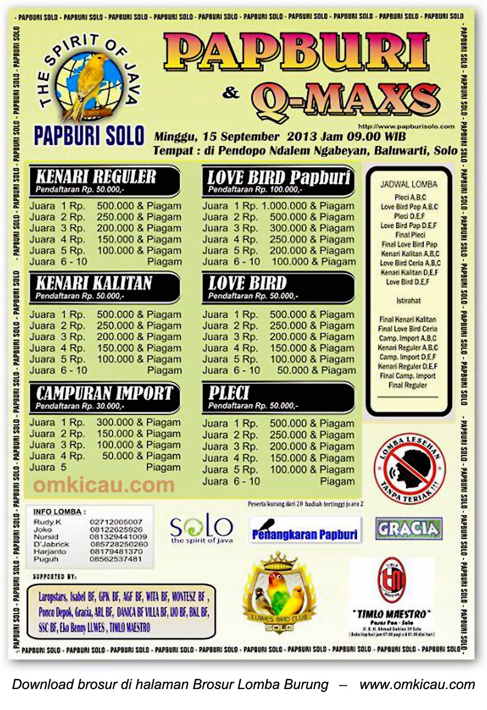 Brosur Lomba Burung Berkicau Papburi Solo 15 September 2013
