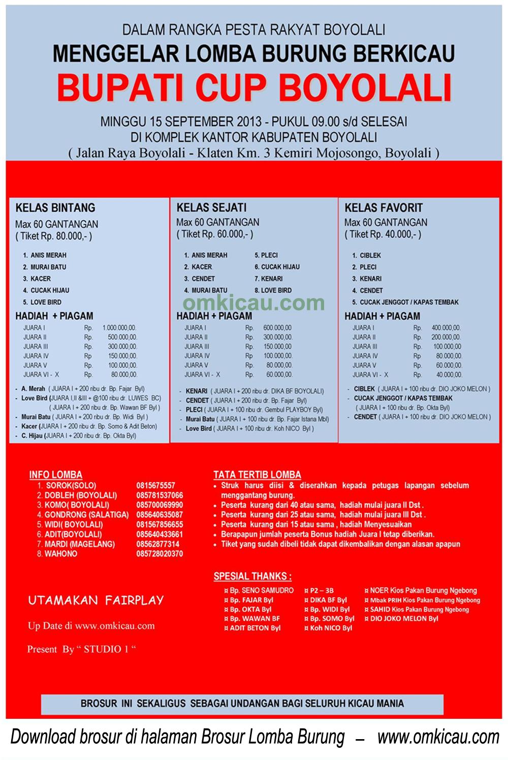 Brosur Lomba Burung Bupati Cup - Boyolali - 15 Sept 2013