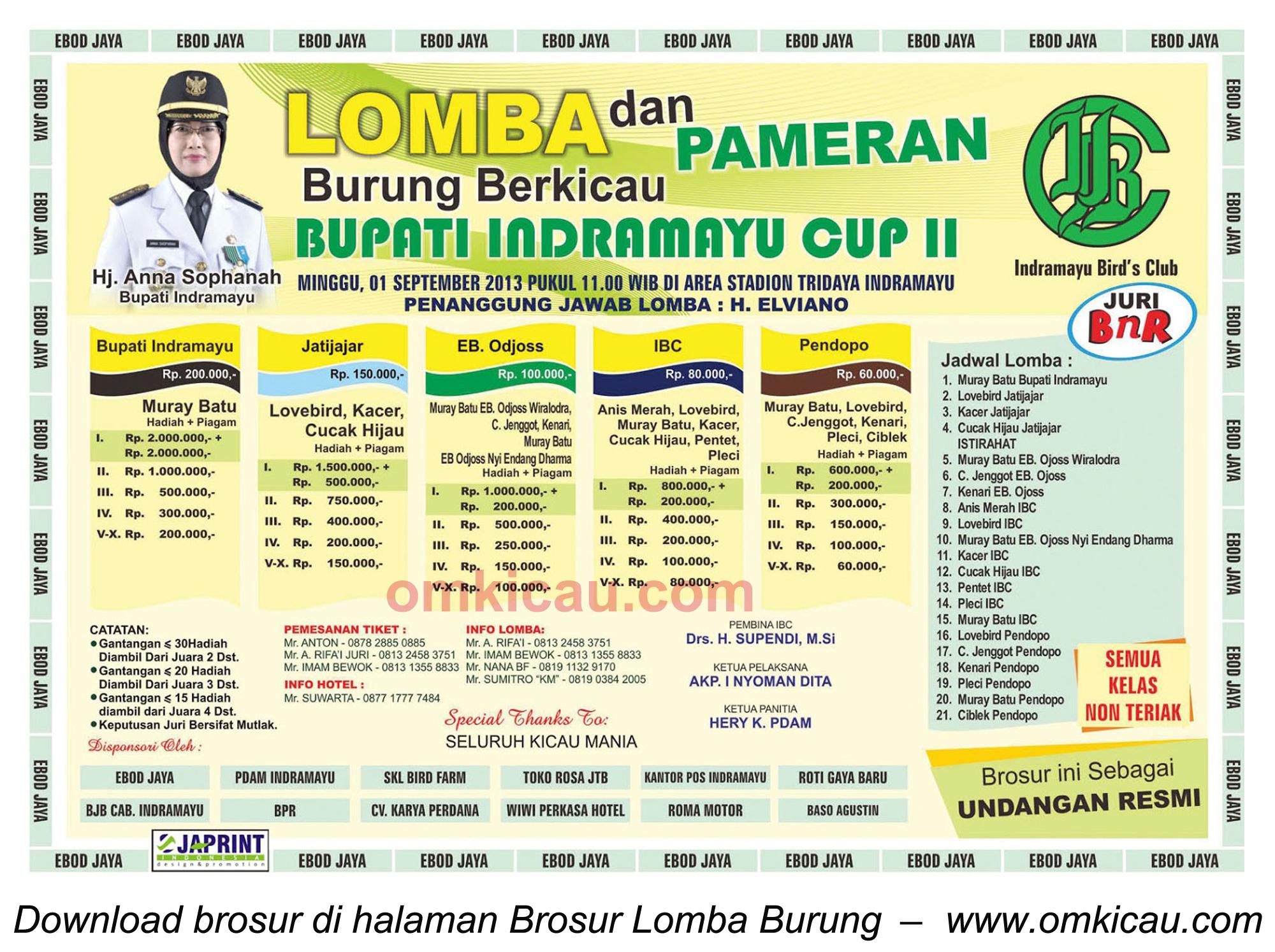 Brosur Lomba Burung Bupati Indramayu Cup II, Indramayu, 1 Sept 2013