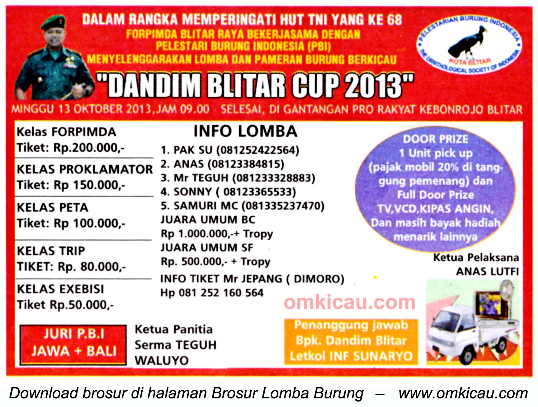 Brosur Lomba Burung Dandim Blitar Cup 13 Oktober 2013