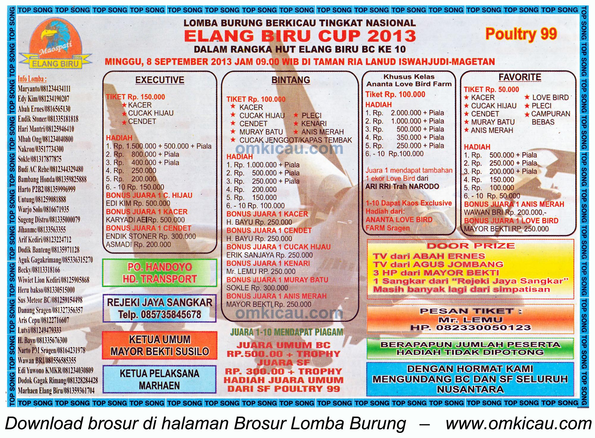 Brosur Lomba Burung Elang Biru Cup Magetan 8 Sept 2013