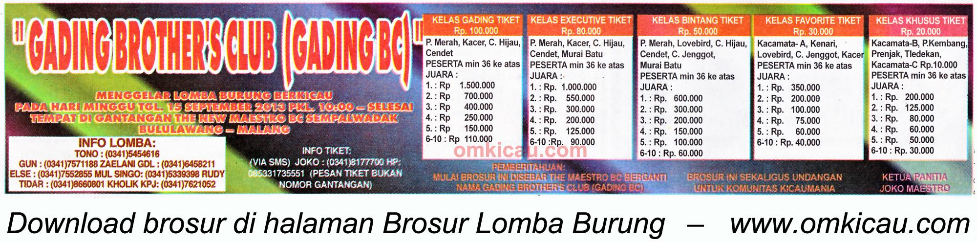 Brosur Lomba Burung Gading BC Malang 15 Sept 2013