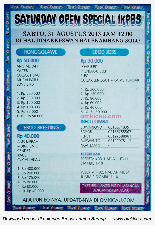 Brosur Lomba Burung IKPBS Solo 31 Agustus 2013