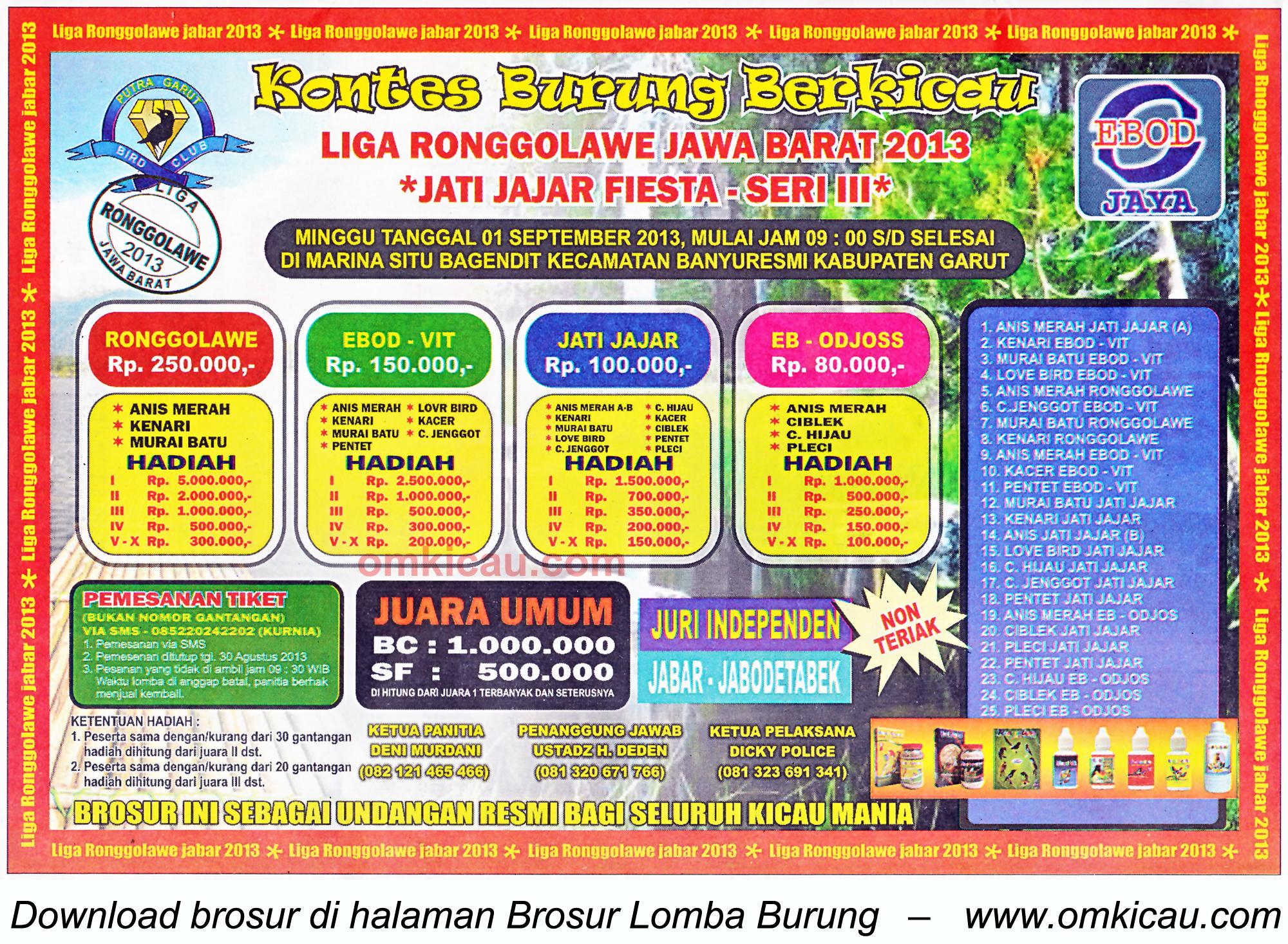 Brosur Lomba Burung Jatijajar Fiesta - LRJ 3 Garut 1 Sept 2013