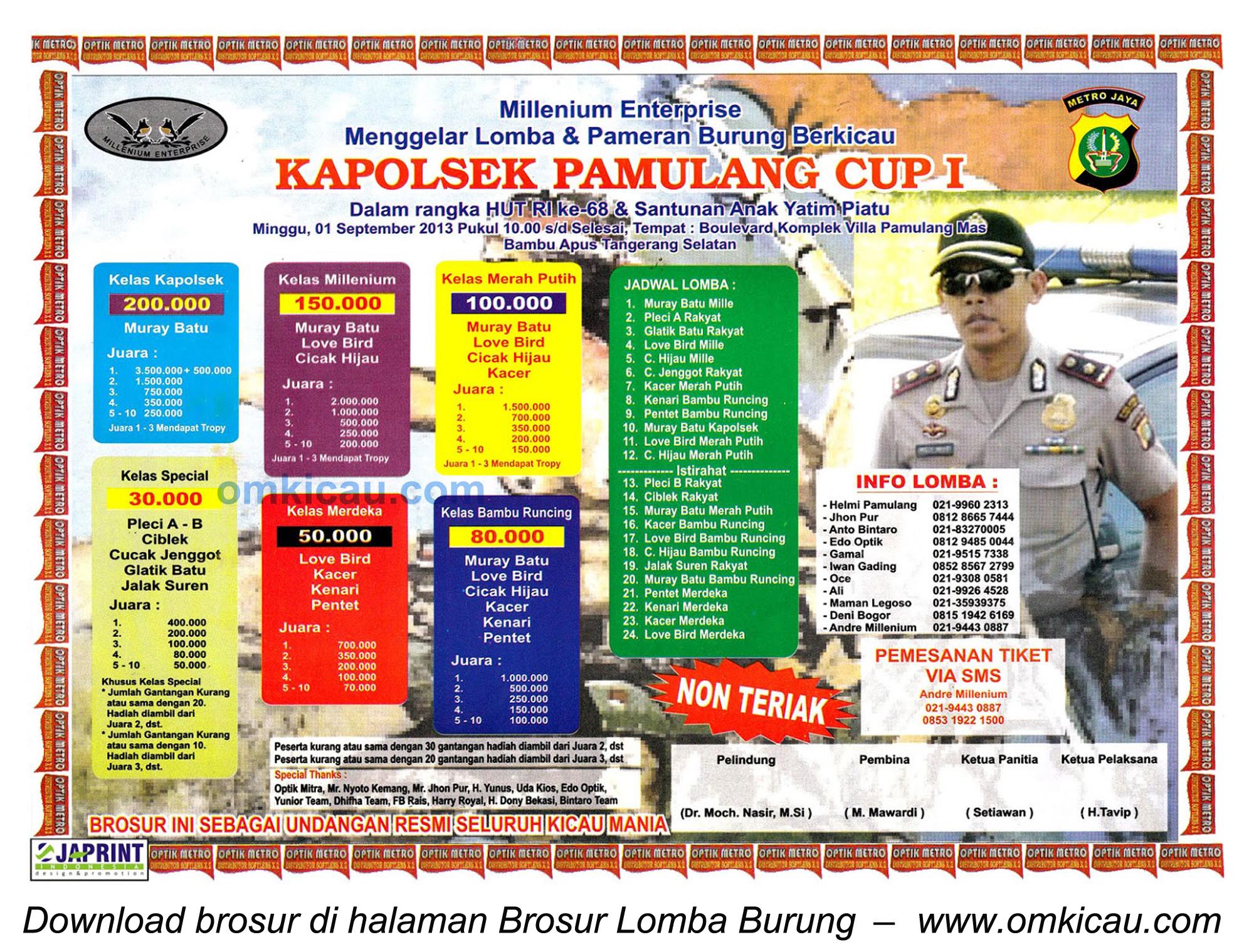 Brosur Lomba Burung Kapolsek Pamulang Cup I, Tangsel, 1 Sept 2013