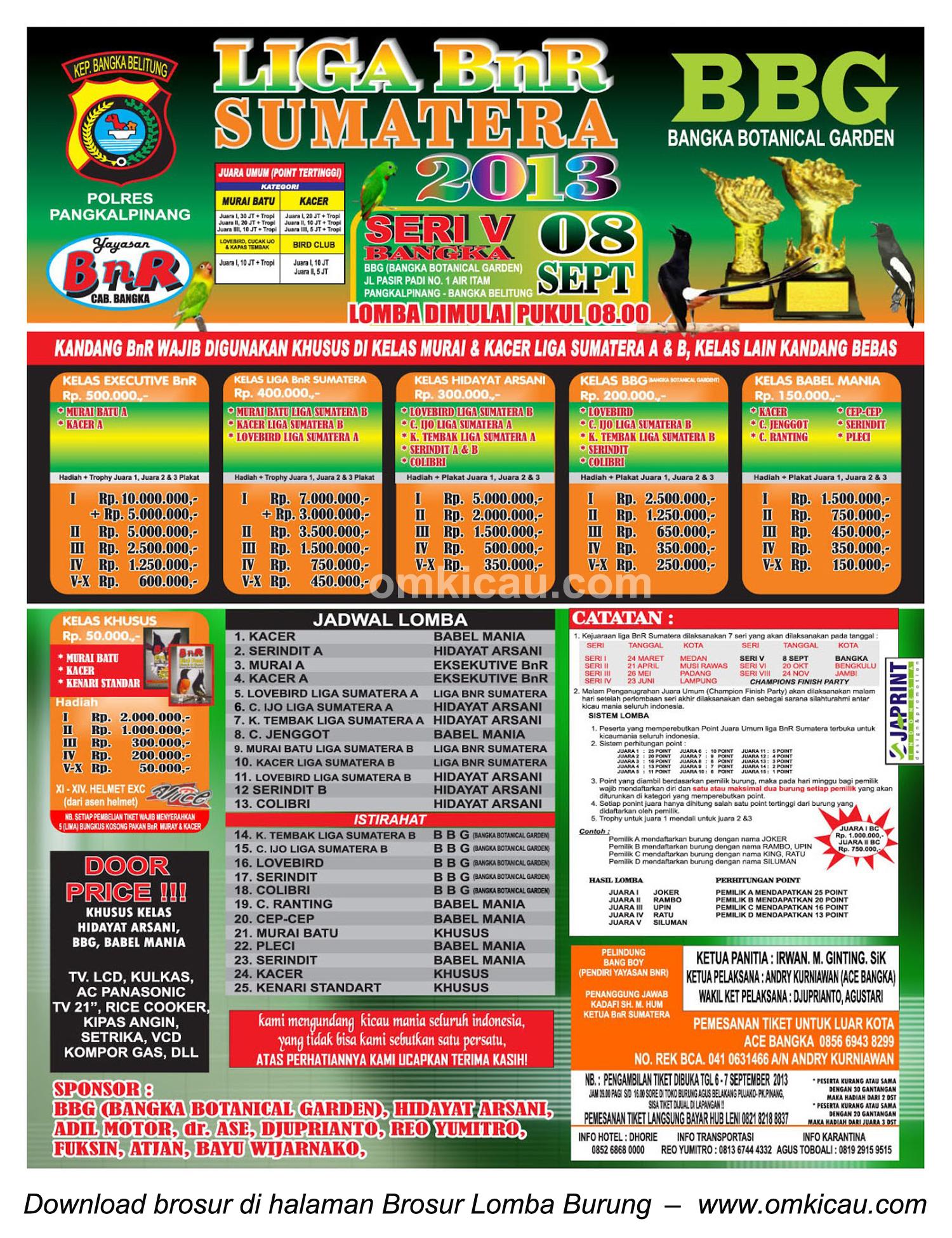 Brosur Lomba Burung Liga Sumatera Seri 5, Bangka, 8 September 2013