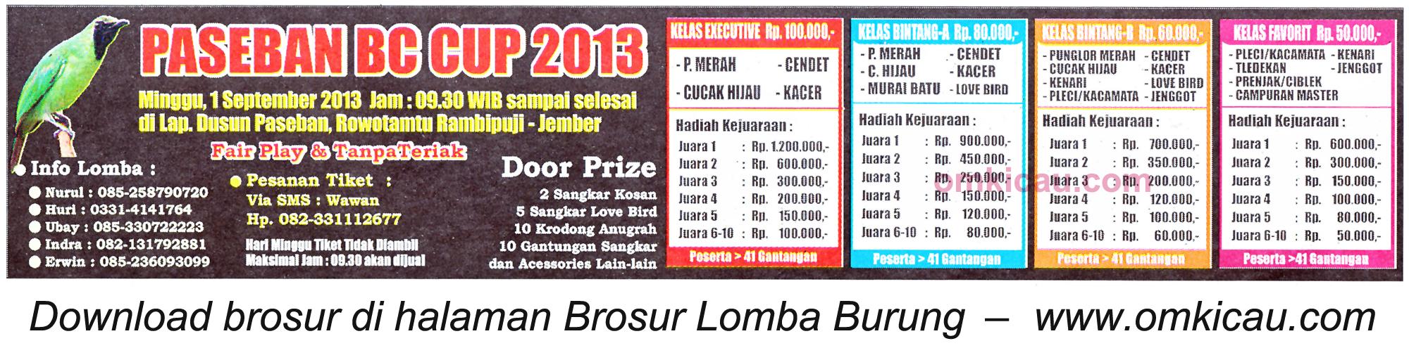Brosur Lomba Burung Paseban BC Cup Jember 1 Sept 2013