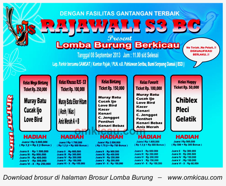 Brosur Lomba Burung Rajawali S3 BC - BSD - 8 September 2013
