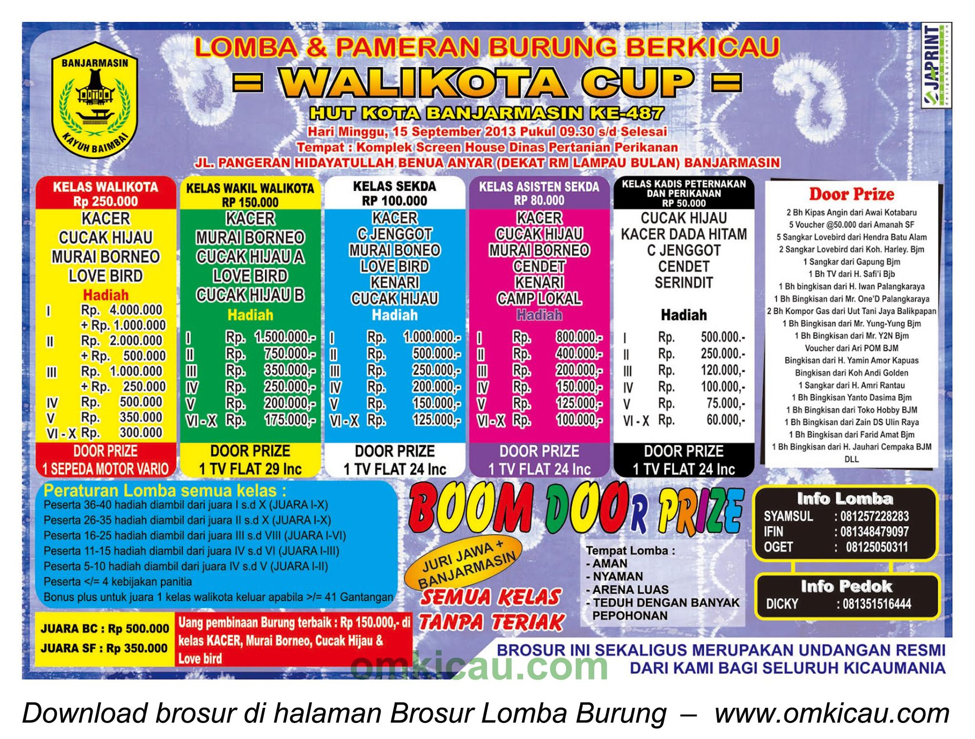 Brosur Lomba Burung Wali Kota Cup, Banjarmasin, 15 September 2013