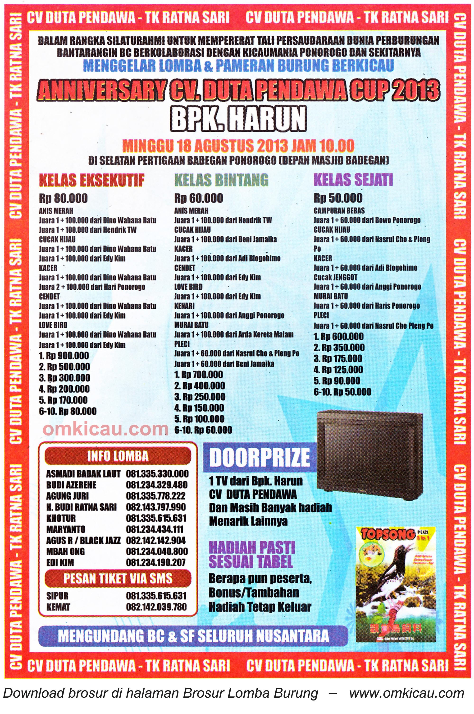 Brosur Lomba Duta Pendawa Cup Ponorogo 18 Agustus 2013