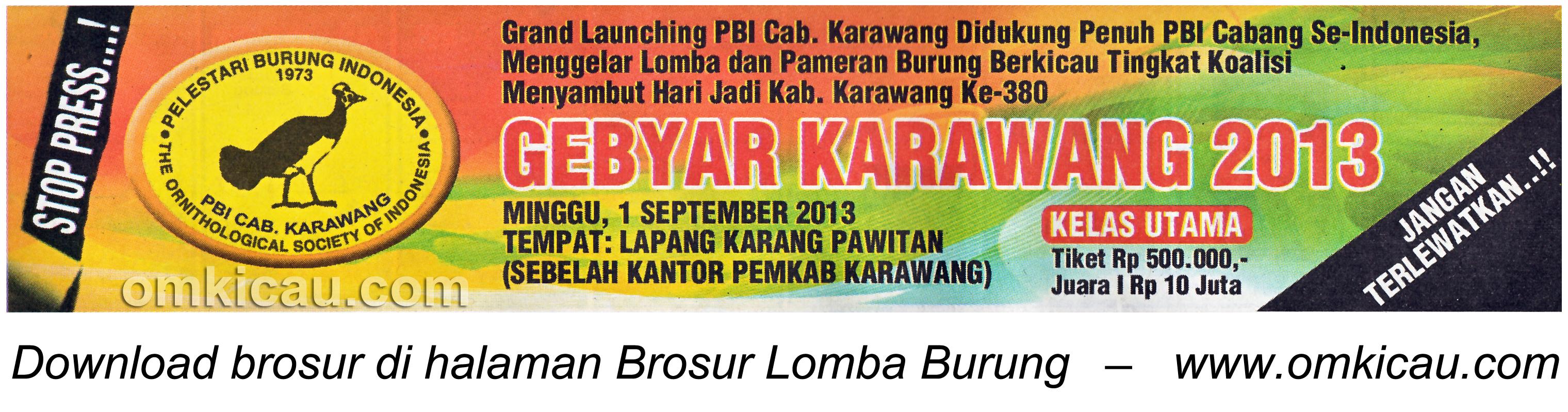 Brosur Lomba Gebyar Karawang 1 September 2013