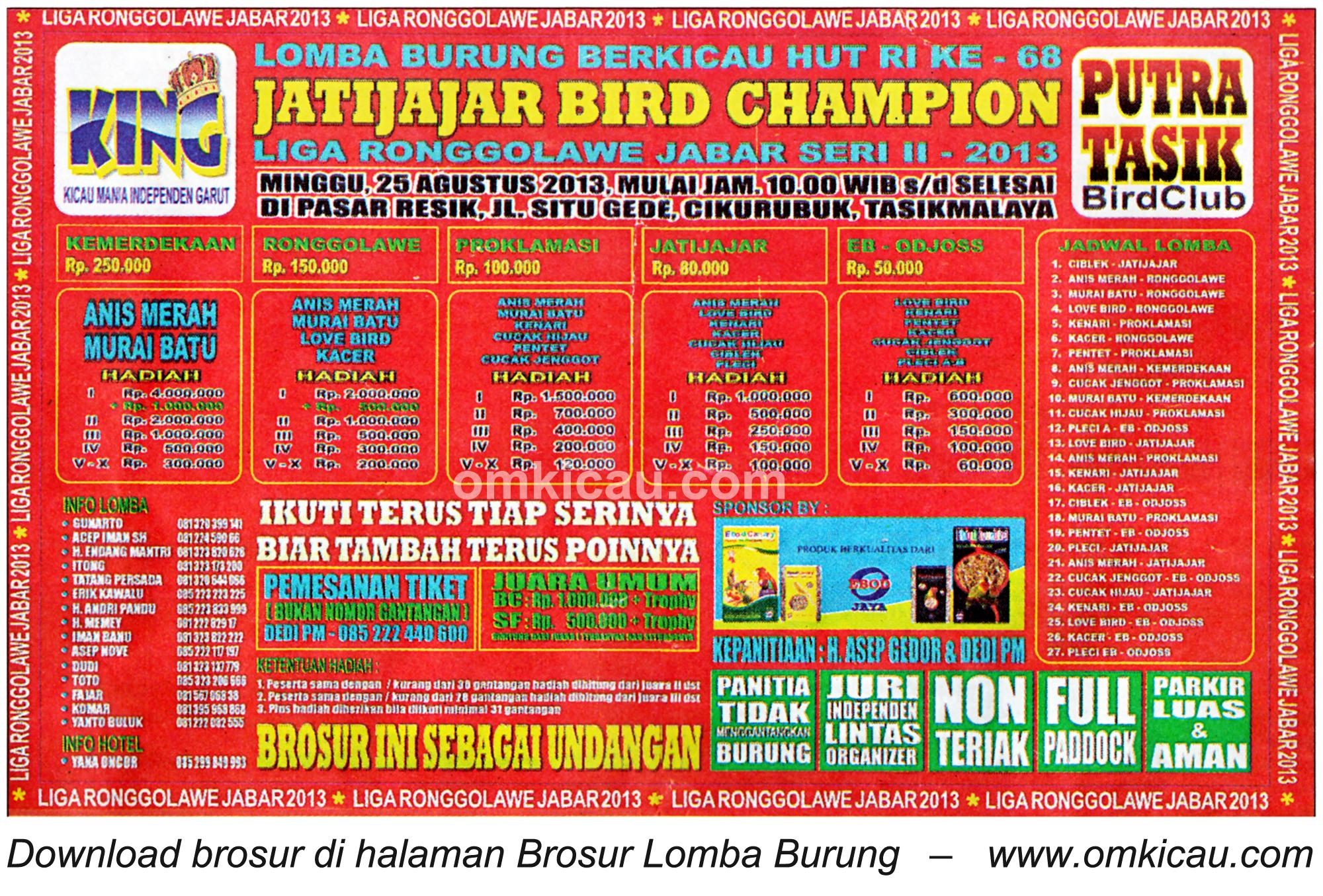 Brosur Lomba Jatijajar Bird Champion Tasikmalaya 25 Agustus 2013