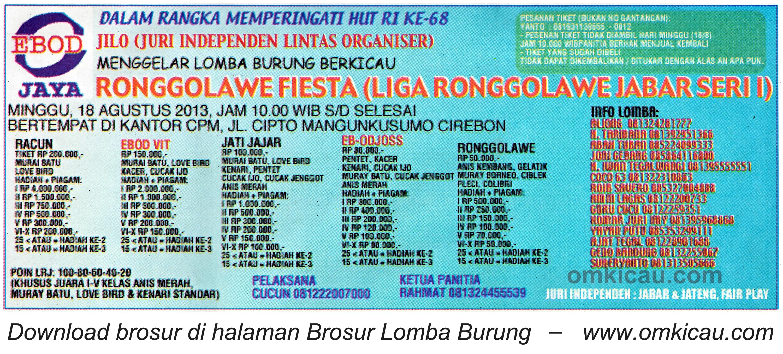 Brosur Lomba Ronggolawe Fiesta - LRJ 1 Cirebon 18 Agustus 2013