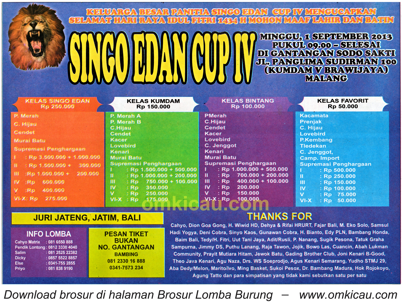 Brosur Lomba Singo Edan Cup IV 1 September 2013