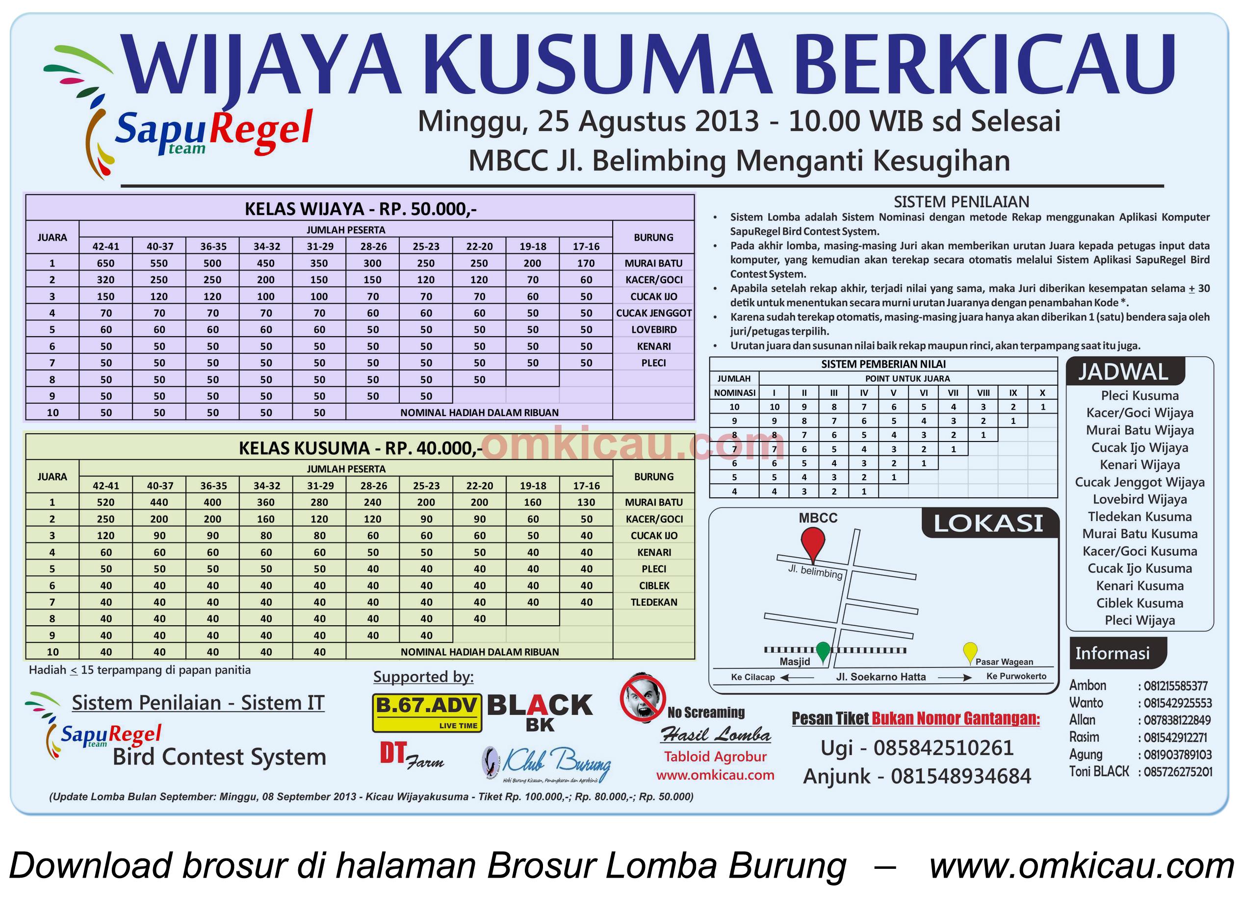 Brosur Lomba Wijaya Kusuma Berkicau - Cilacap 25 Agustus 2013