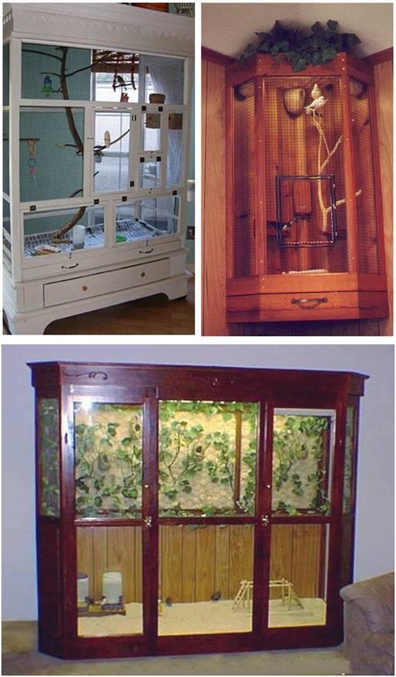 Beberapa kandang aviary yang dibuat dari lemari bekas