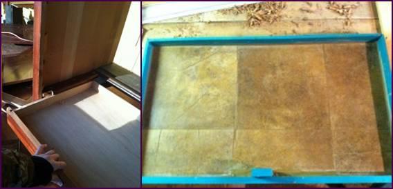 Laci dilapisi dengan karpet yang bisa digunakan untuk penampung kotoran
