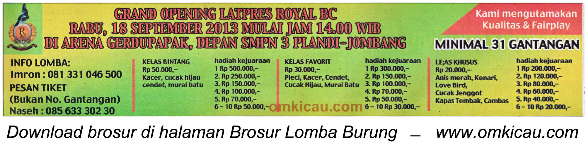 Brosur Grand Opening Latpres Royal BC Jombang 18 Sept 2013