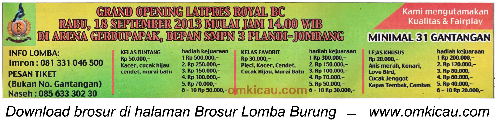 Brosur Grand Opening Latpres Royal BC Jombang 18 Sept 2013