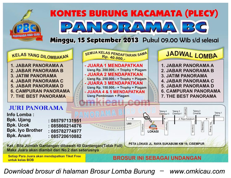 Brosur Kontes Burung Pleci Panorama BC - Bogor - 15 September 2013