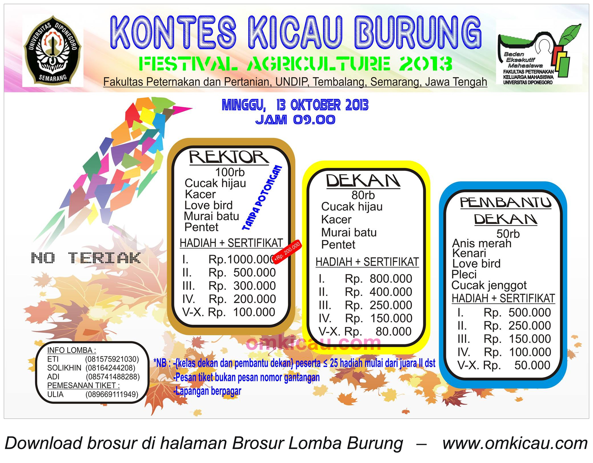 Brosur Kontes Kicau Burung - Fapet Undip, Semarang, 13 Oktober 2013