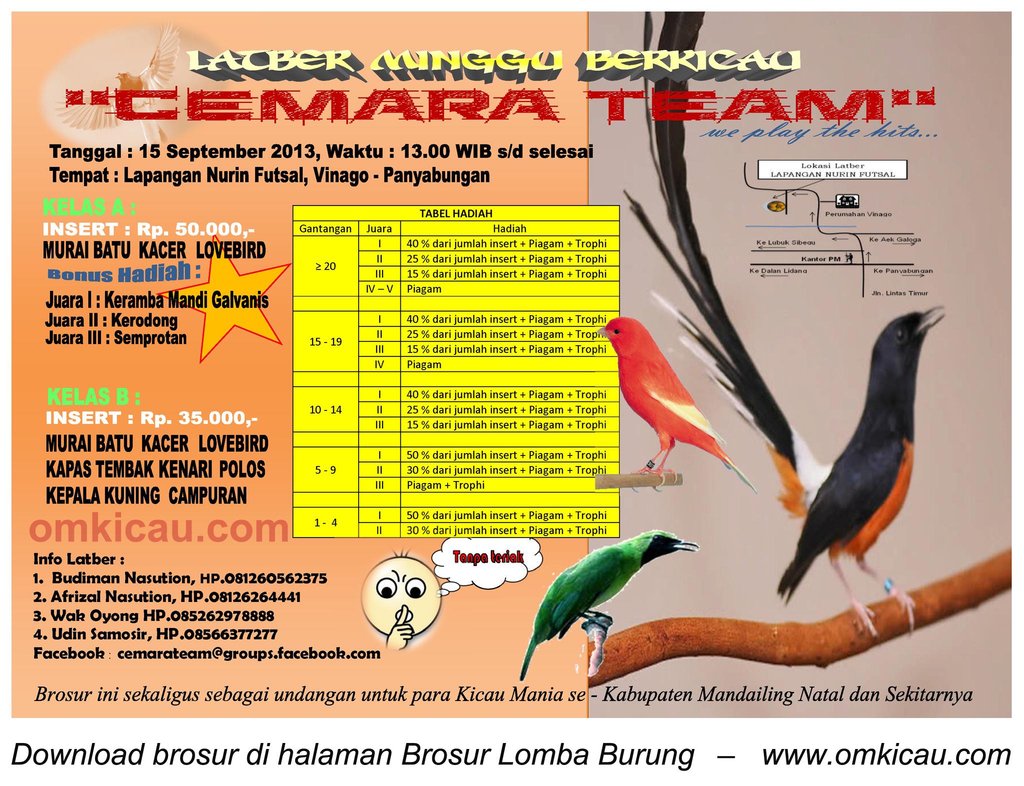 Brosur Latber Burung Berkicau Cemara Team, Mandailing Natal, 15 Sept 2013