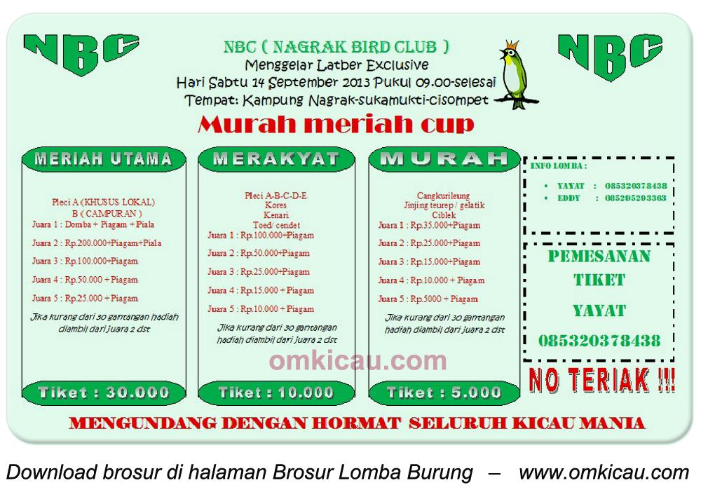 Brosur Latber Exclusive Murah Meriah Cup, Kab Garut, 14 Oktober 2013