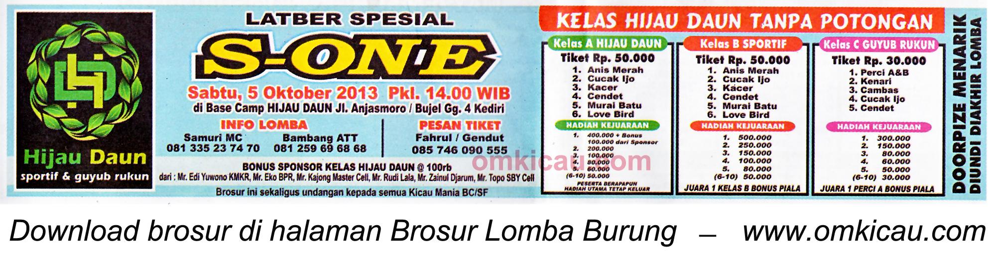 Brosur Latber Spesial S-One, Kediri, 5 Oktober 2013