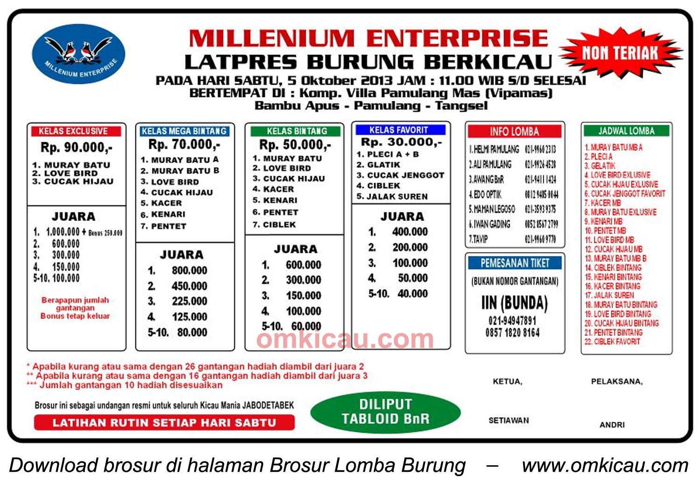 Brosur Latpres Burung Millenium Enterprise, Pamulang, 5 Oktober 2013