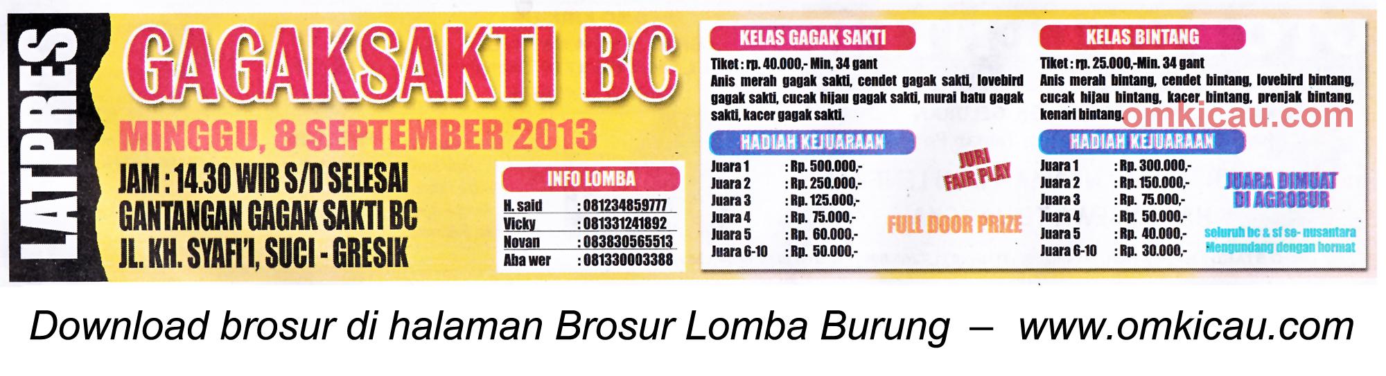 Brosur Latpres Gagak Sakti BC Gresik 8 Sept 2013