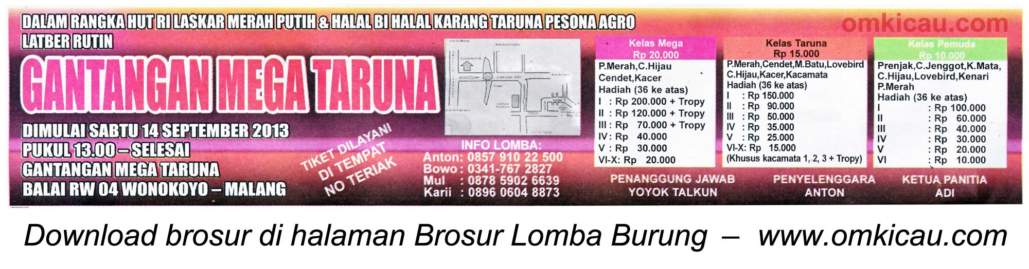 Brosur Latpres Gantangan Mega Taruna Malang 14 Sept 2013