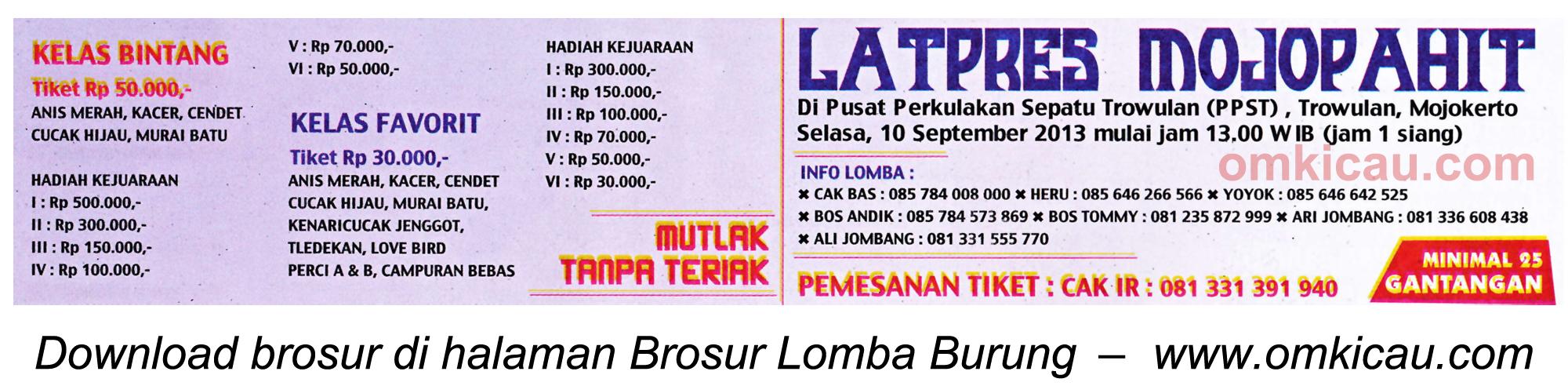 Brosur Latpres Mojopahit, Mojokerto, 10 September 2013