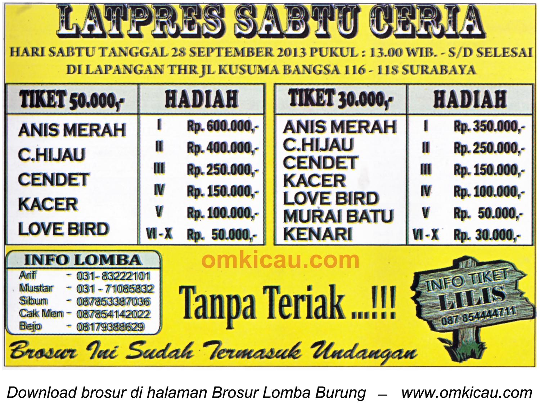 Brosur Latpres Sabtu Ceria, Surabaya, 28 September 2013