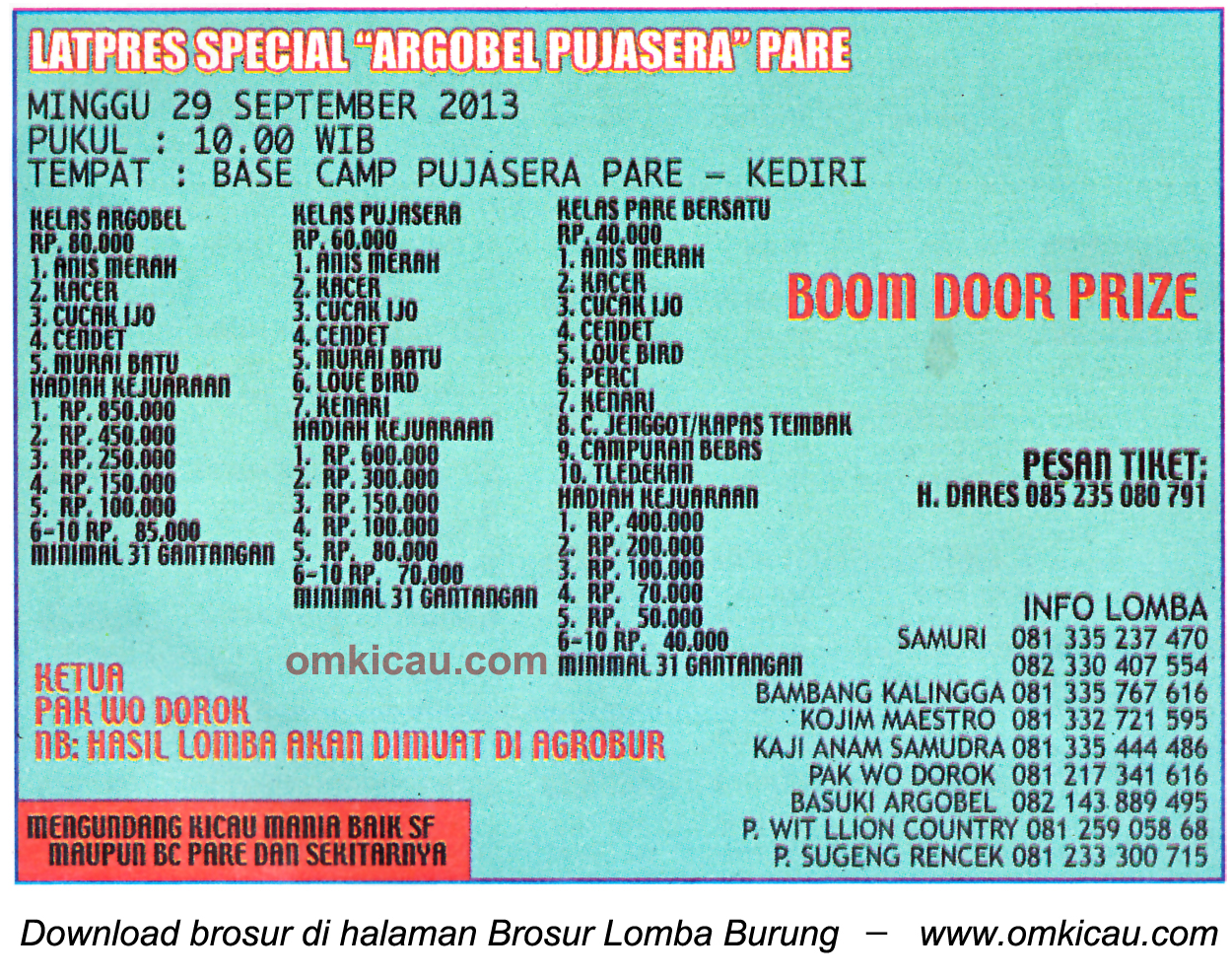 Brosur Latpres Spesial Argobel Pujasera Pare, Kediri, 29 September 2013